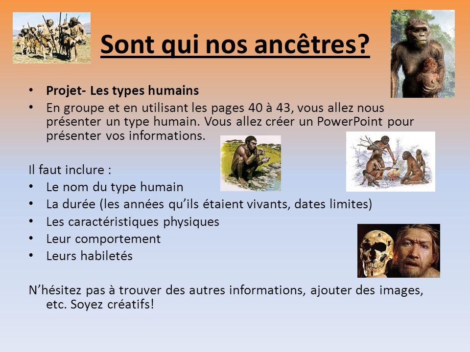 Sont qui nos ancêtres Projet- Les types humains