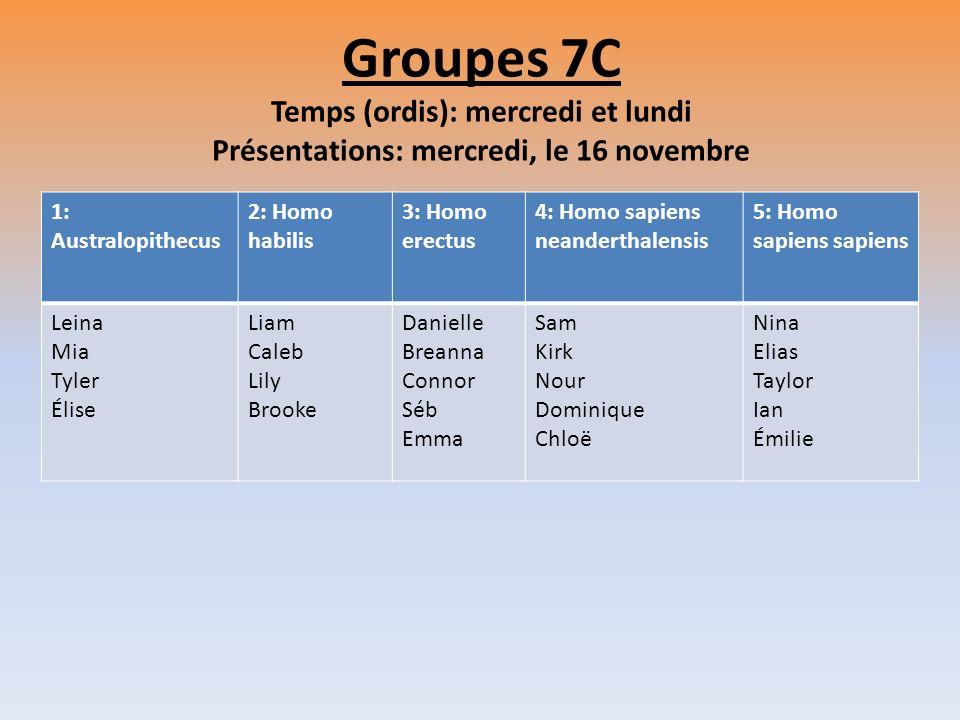 Groupes 7C Temps (ordis): mercredi et lundi Présentations: mercredi, le 16 novembre
