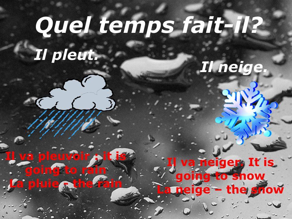 Il va pleuvoir : it is going to rain Il va neiger. It is going to snow