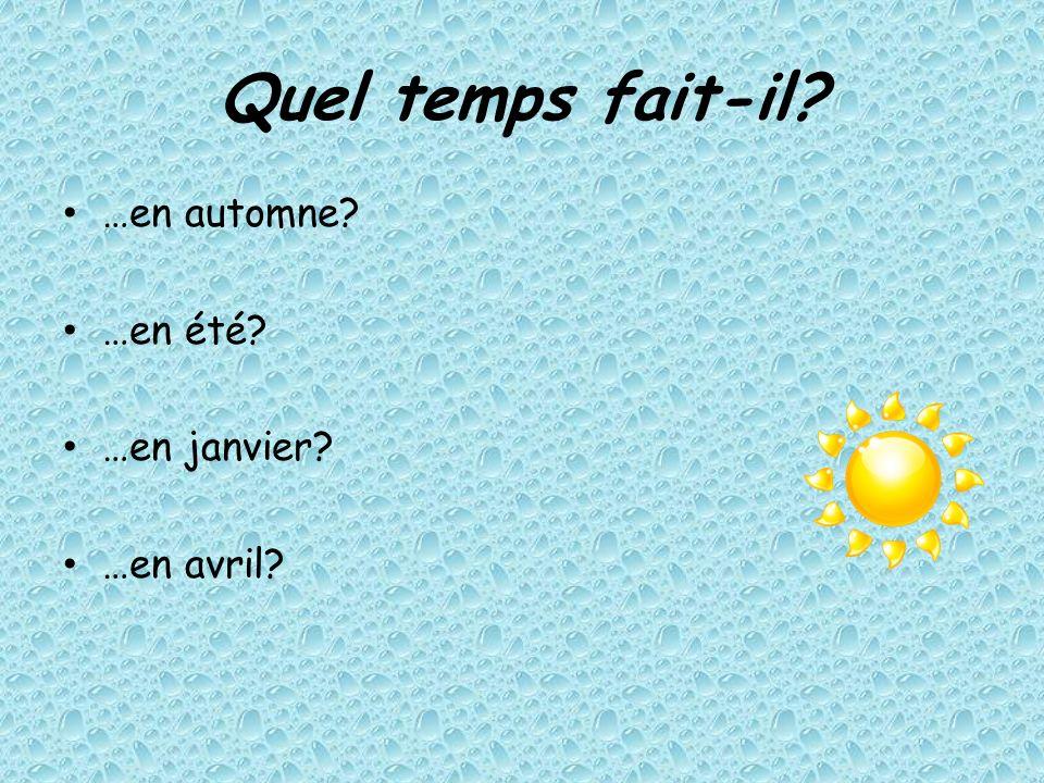 Quel temps fait-il …en automne …en été …en janvier …en avril