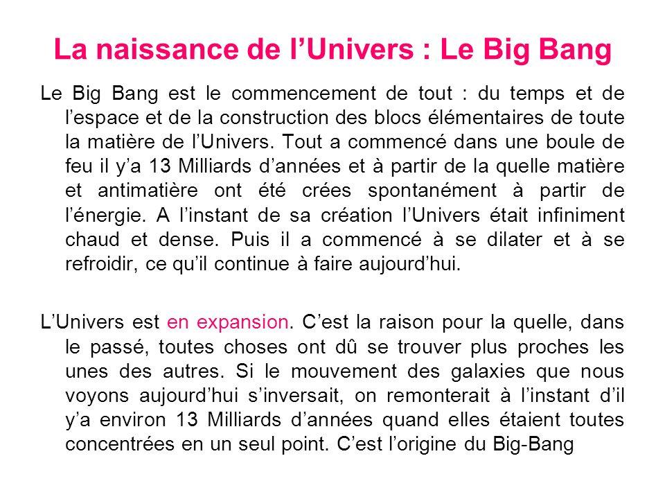La naissance de l'Univers : Le Big Bang