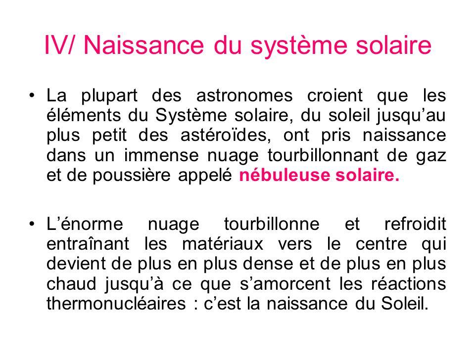 IV/ Naissance du système solaire