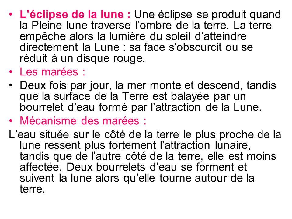 L'éclipse de la lune : Une éclipse se produit quand la Pleine lune traverse l'ombre de la terre. La terre empêche alors la lumière du soleil d'atteindre directement la Lune : sa face s'obscurcit ou se réduit à un disque rouge.