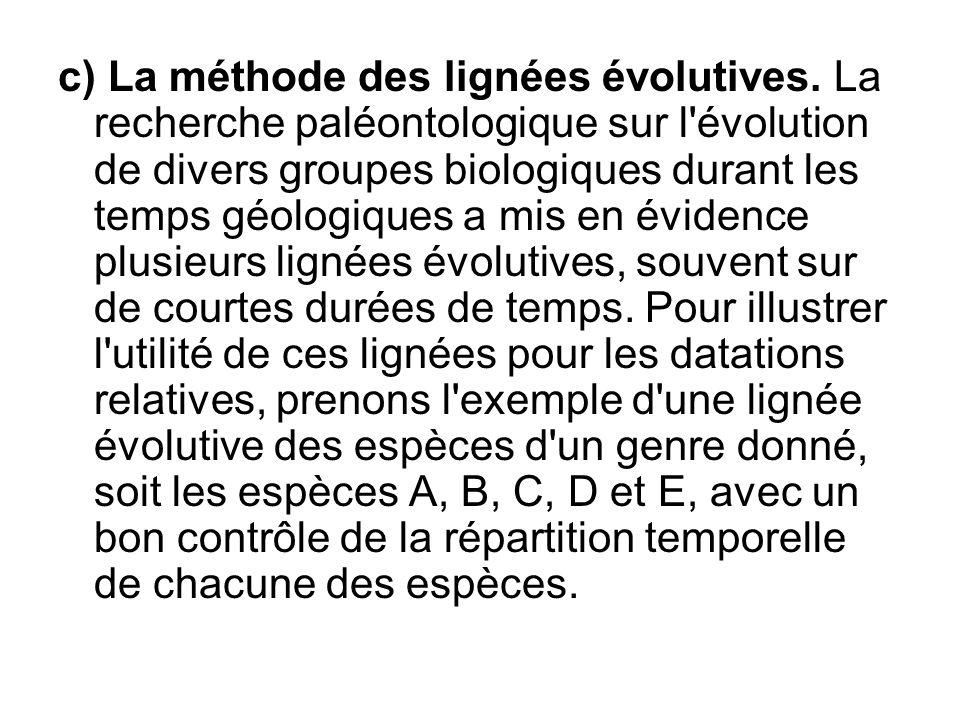c) La méthode des lignées évolutives