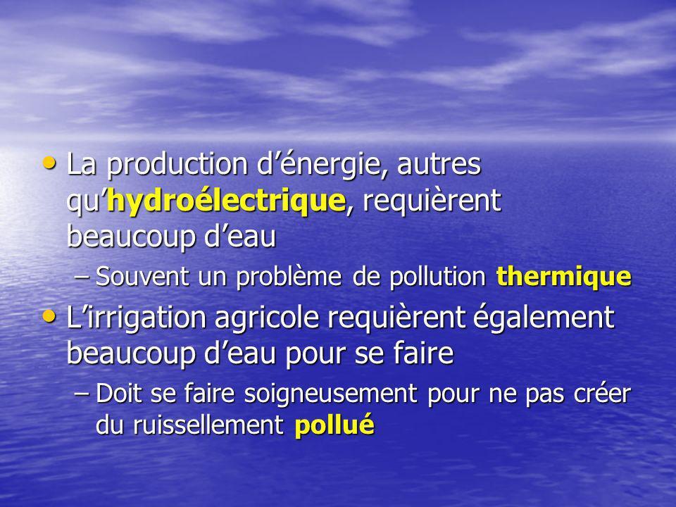 La production d'énergie, autres qu'hydroélectrique, requièrent beaucoup d'eau