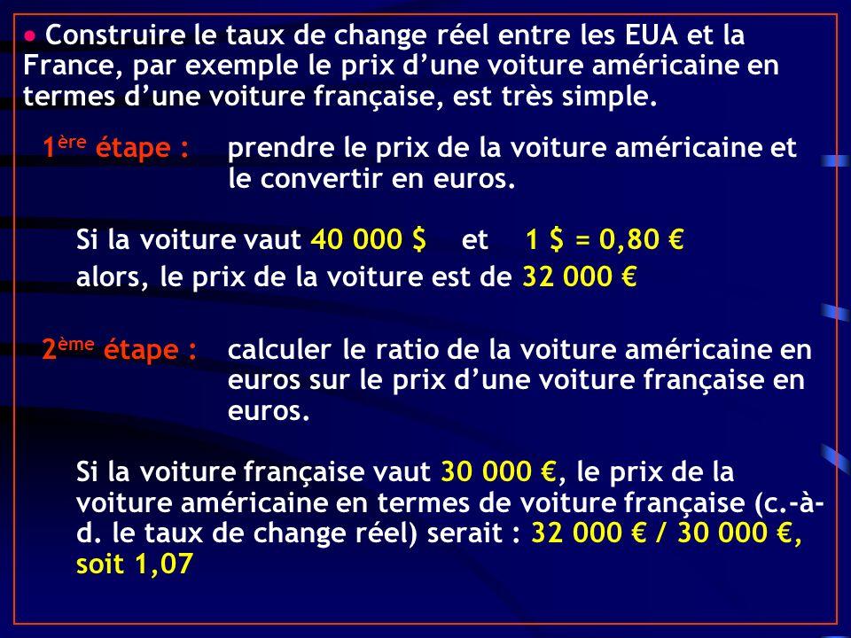  Construire le taux de change réel entre les EUA et la France, par exemple le prix d'une voiture américaine en termes d'une voiture française, est très simple.