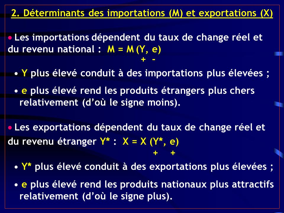2. Déterminants des importations (M) et exportations (X)