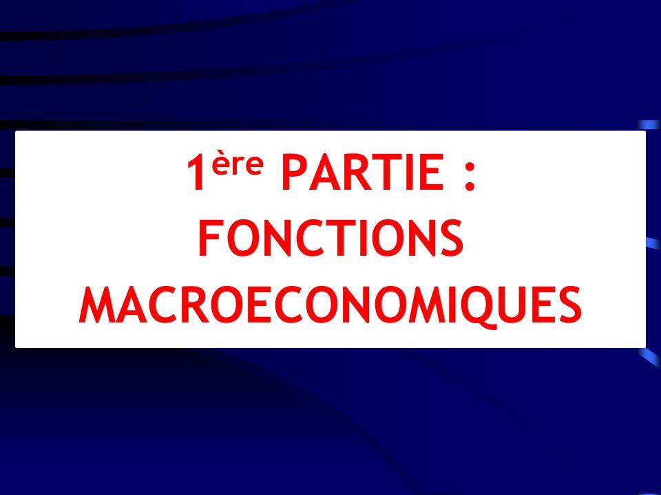 1ère PARTIE : FONCTIONS MACROECONOMIQUES