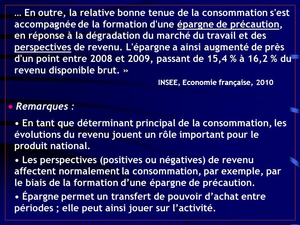 … En outre, la relative bonne tenue de la consommation s est accompagnée de la formation d une épargne de précaution, en réponse à la dégradation du marché du travail et des perspectives de revenu. L épargne a ainsi augmenté de près d un point entre 2008 et 2009, passant de 15,4 % à 16,2 % du revenu disponible brut. » INSEE, Economie française, 2010