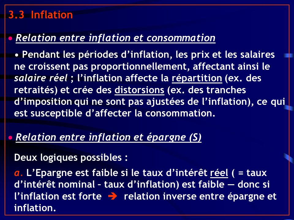 3.3 Inflation  Relation entre inflation et consommation