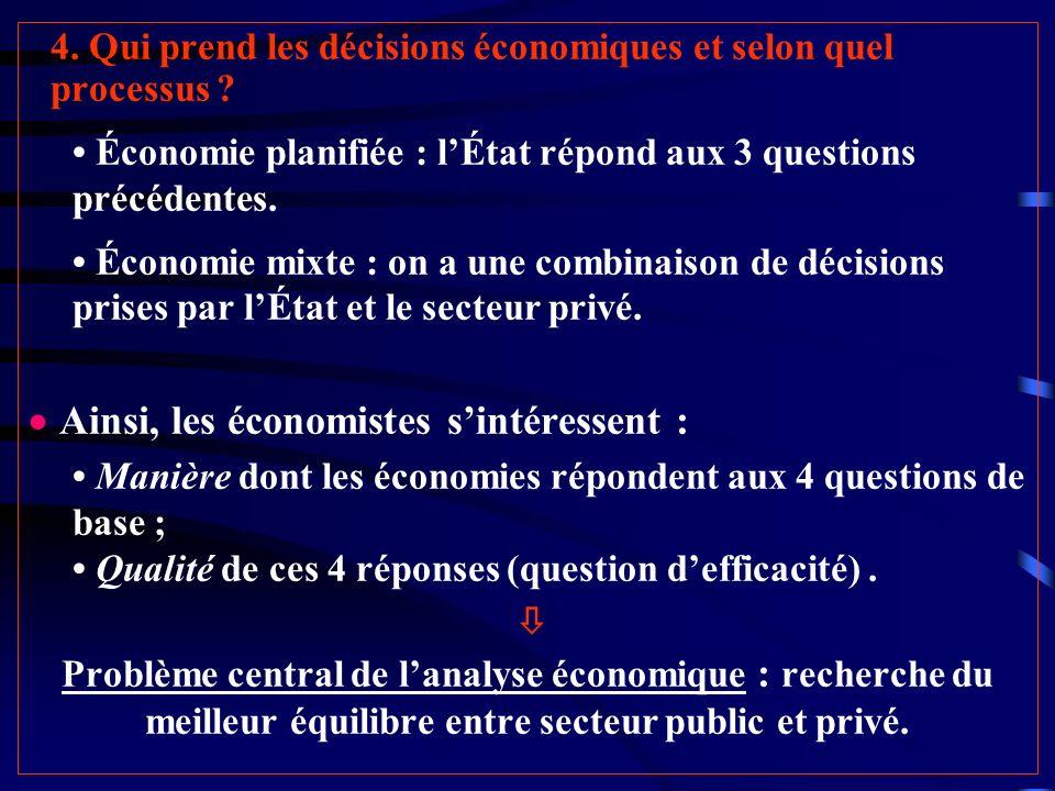  Ainsi, les économistes s'intéressent :