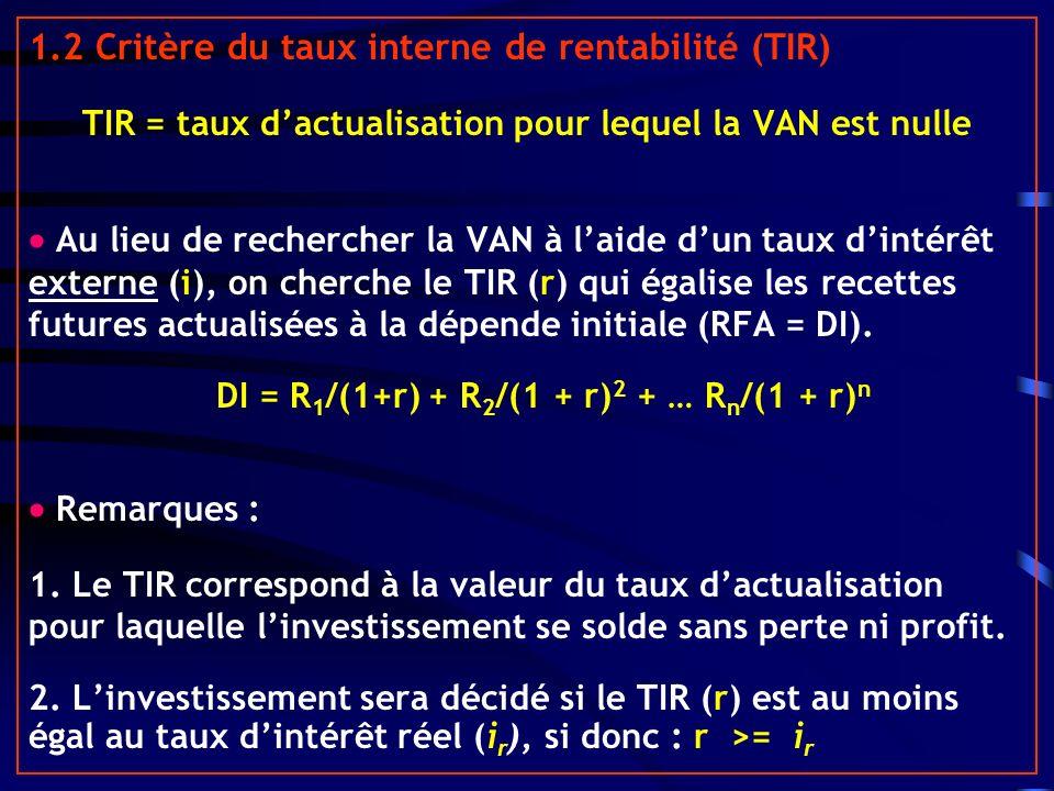 1.2 Critère du taux interne de rentabilité (TIR)
