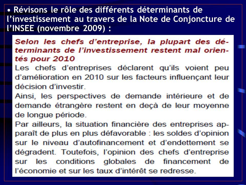 • Révisons le rôle des différents déterminants de l'investissement au travers de la Note de Conjoncture de l'INSEE (novembre 2009) :