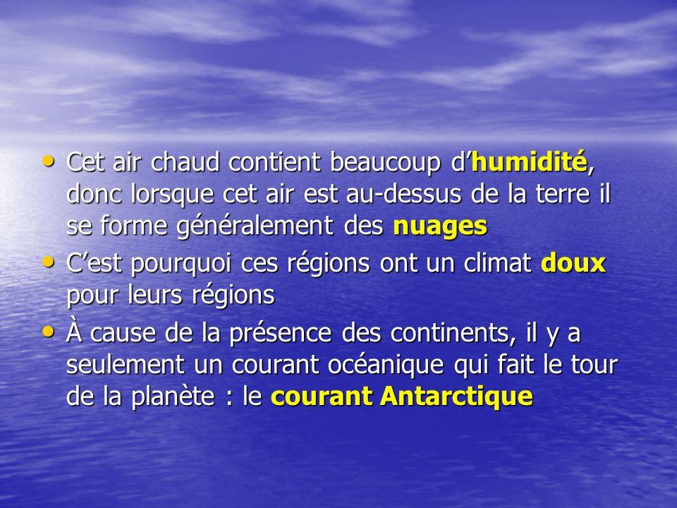 Cet air chaud contient beaucoup d'humidité, donc lorsque cet air est au-dessus de la terre il se forme généralement des nuages