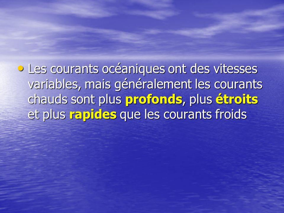 Les courants océaniques ont des vitesses variables, mais généralement les courants chauds sont plus profonds, plus étroits et plus rapides que les courants froids