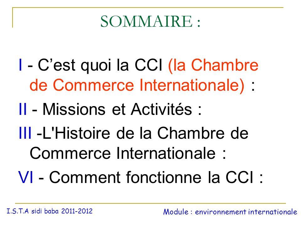 SOMMAIRE : I - C'est quoi la CCI (la Chambre de Commerce Internationale) : II - Missions et Activités :