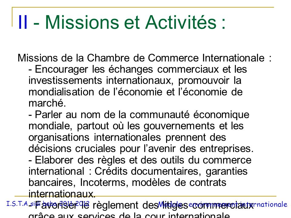 La chambre de commerce internationale ppt t l charger for Chambre de commerce internationale paris arbitrage