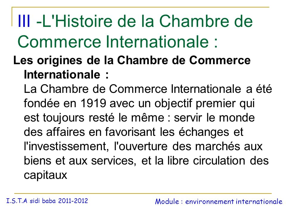 La chambre de commerce internationale ppt t l charger for Chambre de commerce internationale arbitrage