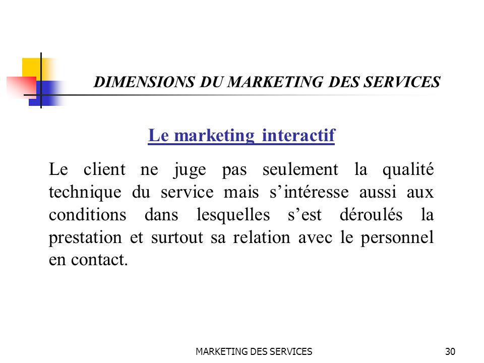 DIMENSIONS DU MARKETING DES SERVICES