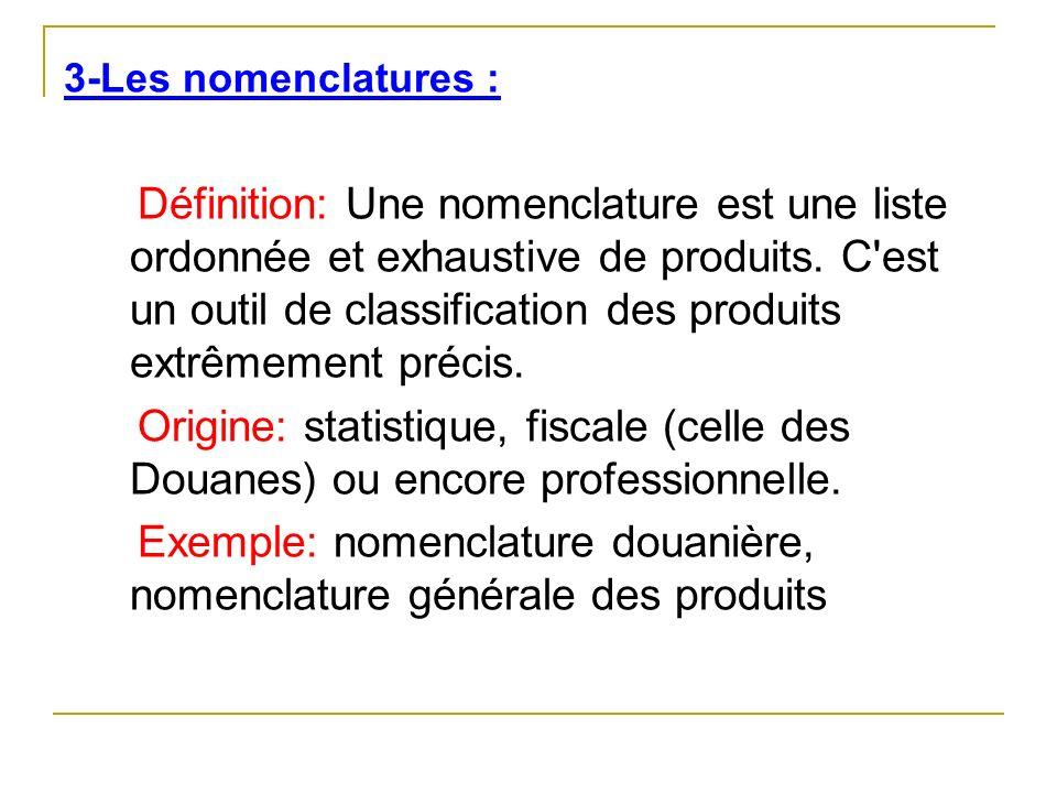 Exemple: nomenclature douanière, nomenclature générale des produits