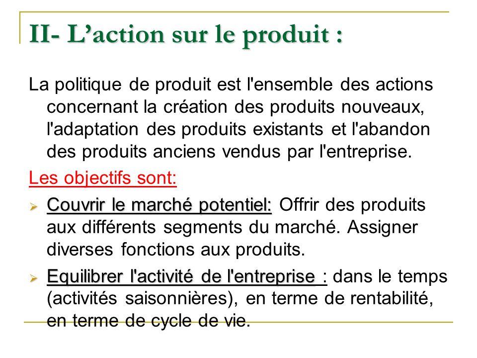 II- L'action sur le produit :