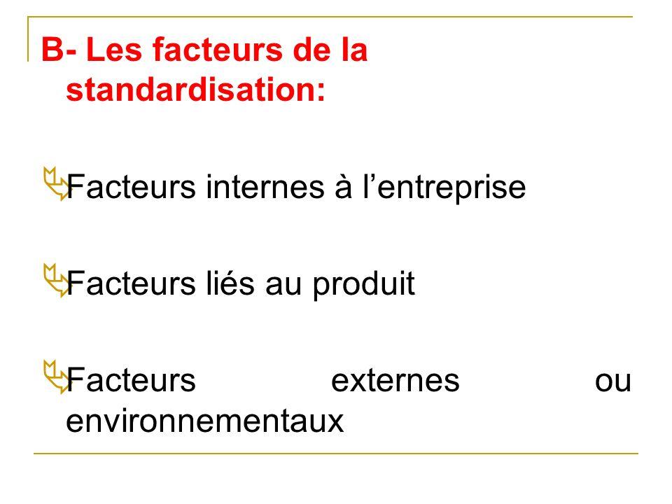 B- Les facteurs de la standardisation: