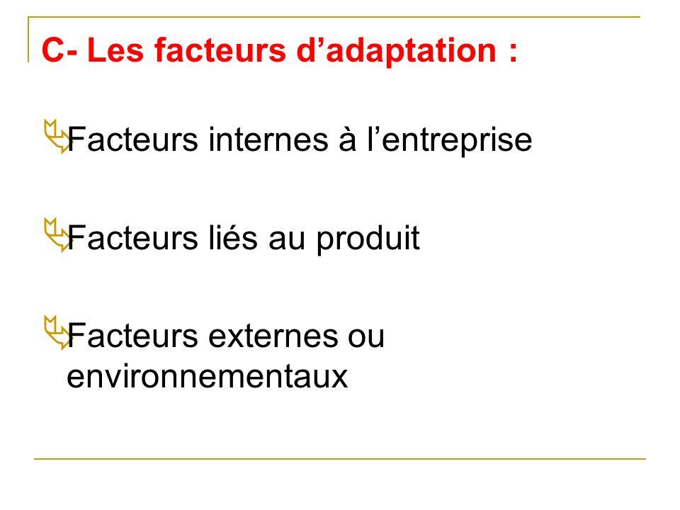 C- Les facteurs d'adaptation :