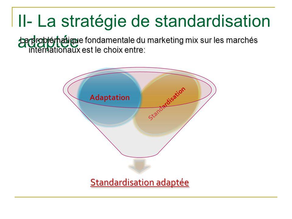 II- La stratégie de standardisation adaptée
