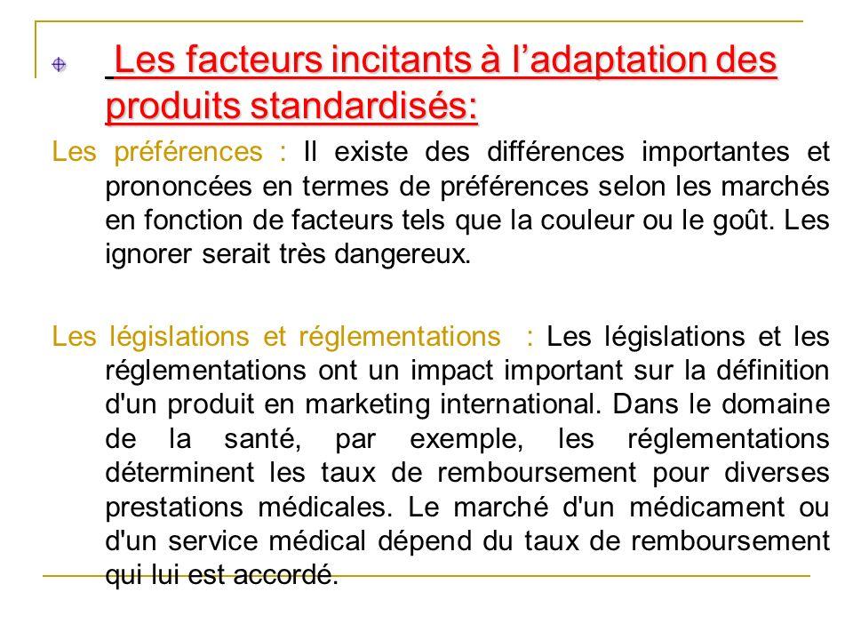 Les facteurs incitants à l'adaptation des produits standardisés: