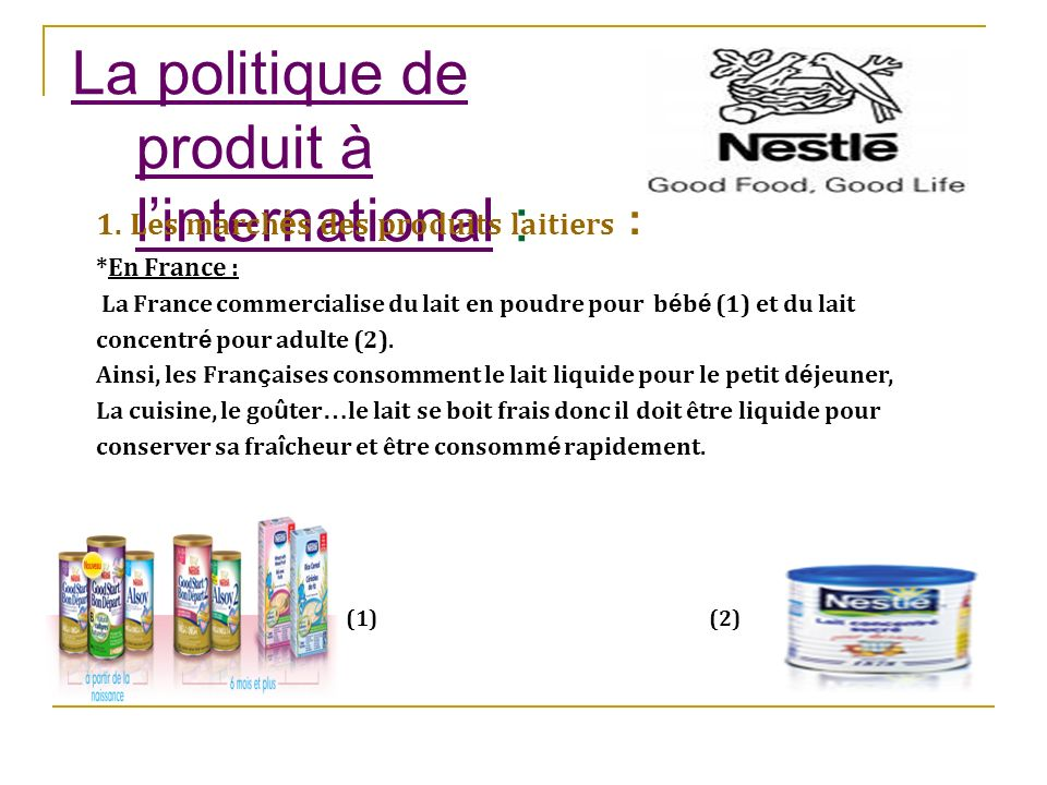 La politique de produit à l'international :