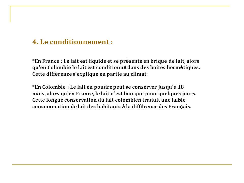 4. Le conditionnement : *En France : Le lait est liquide et se présente en brique de lait, alors.