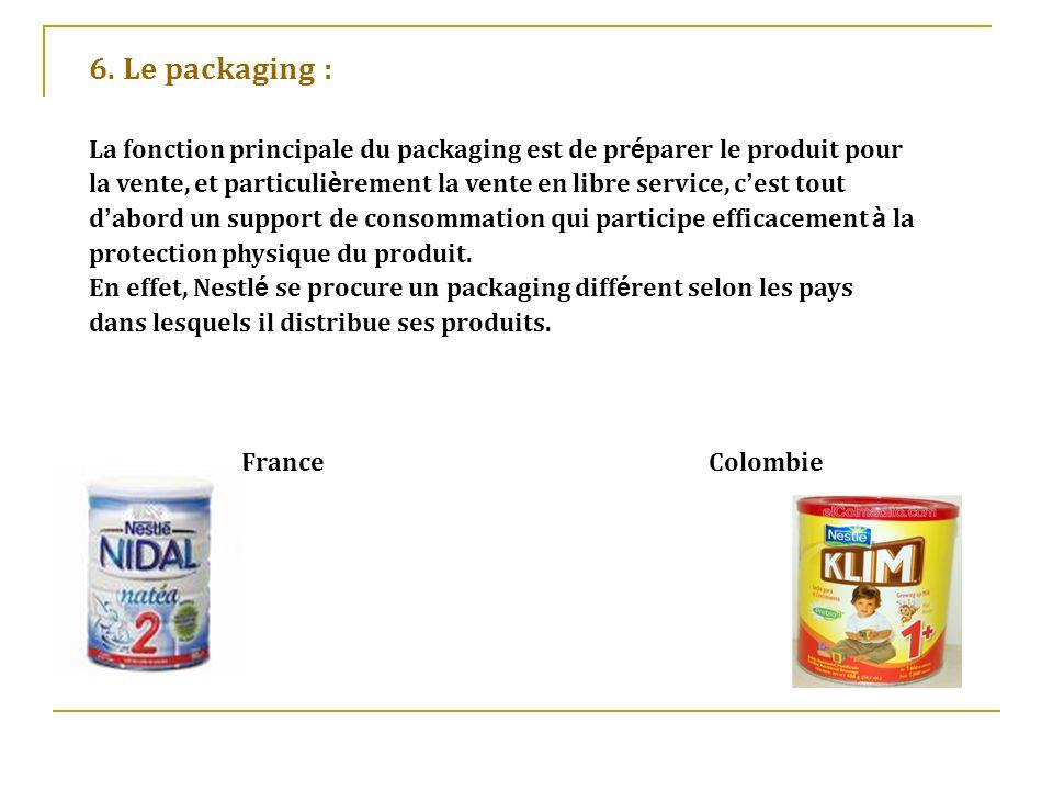 6. Le packaging :La fonction principale du packaging est de préparer le produit pour.