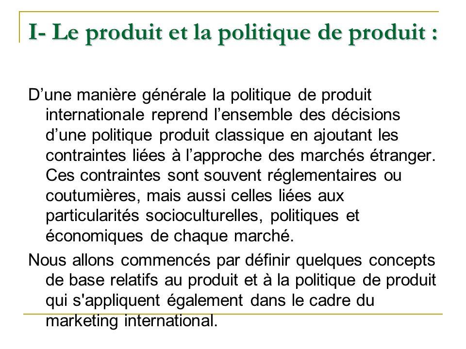 I- Le produit et la politique de produit :