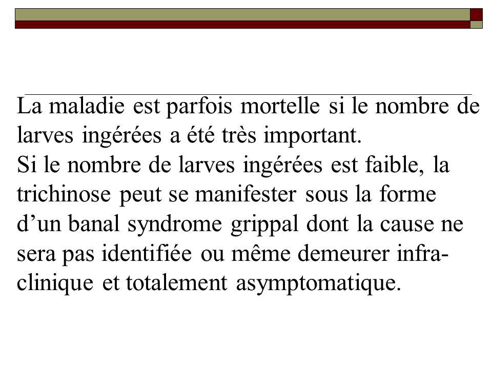 La maladie est parfois mortelle si le nombre de larves ingérées a été très important.