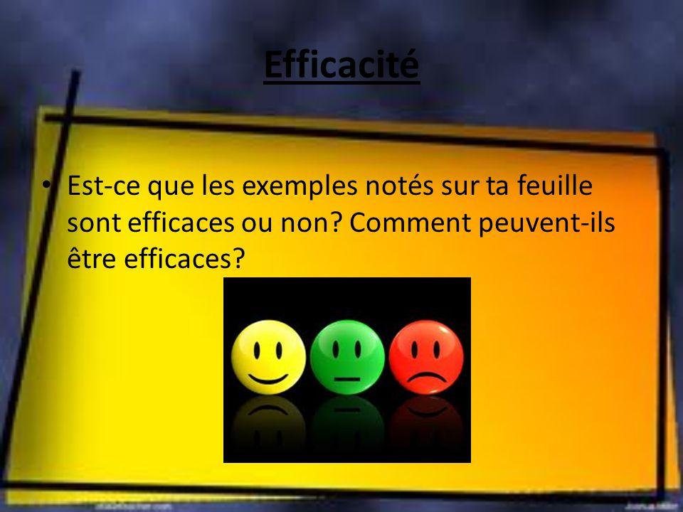 Efficacité Est-ce que les exemples notés sur ta feuille sont efficaces ou non.