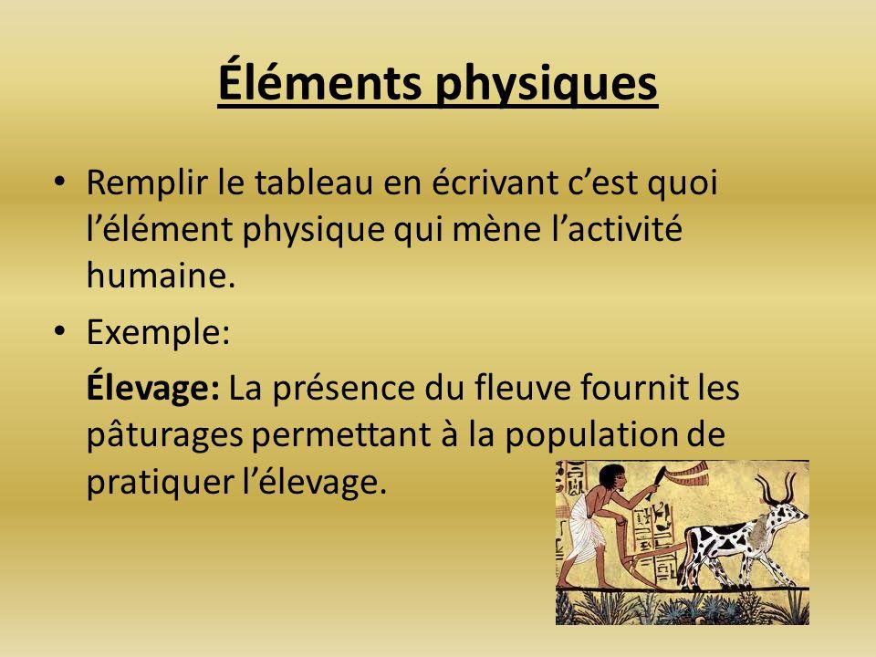 Éléments physiquesRemplir le tableau en écrivant c'est quoi l'élément physique qui mène l'activité humaine.