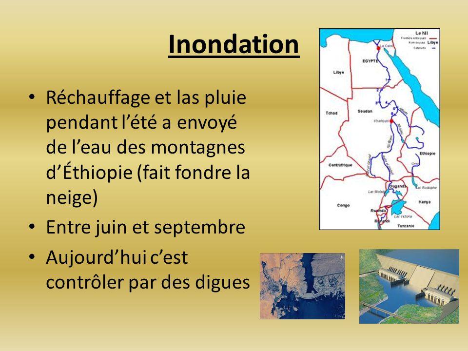 Inondation Réchauffage et las pluie pendant l'été a envoyé de l'eau des montagnes d'Éthiopie (fait fondre la neige)