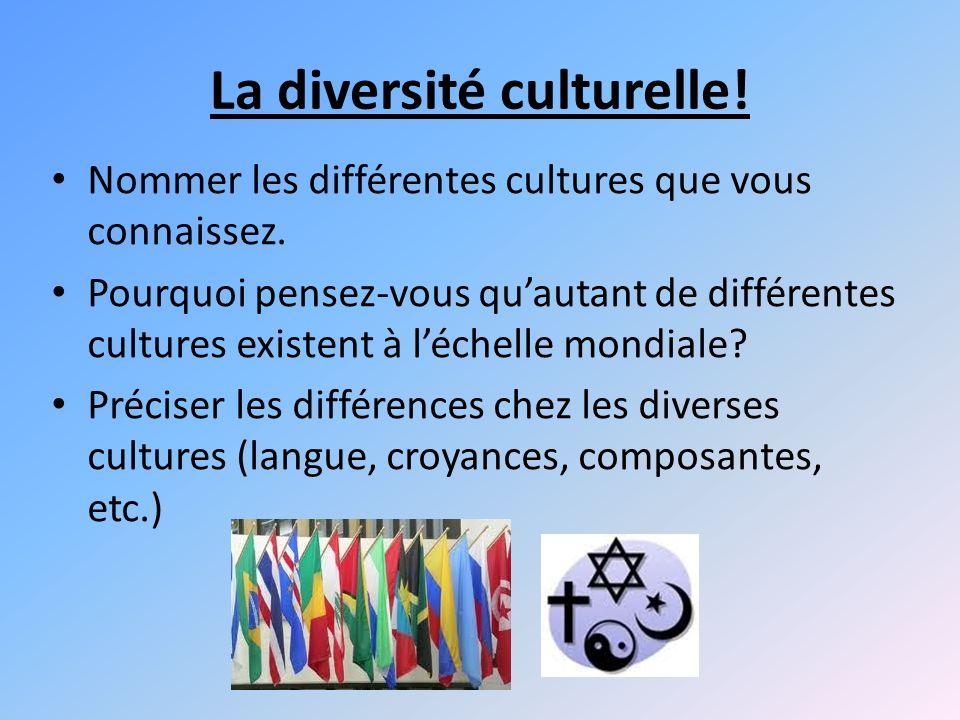 La diversité culturelle!