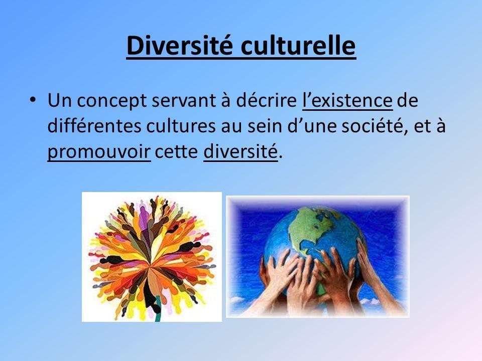 Diversité culturelle Un concept servant à décrire l'existence de différentes cultures au sein d'une société, et à promouvoir cette diversité.