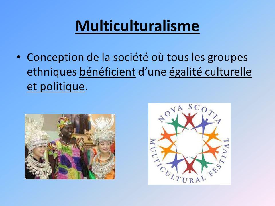 Multiculturalisme Conception de la société où tous les groupes ethniques bénéficient d'une égalité culturelle et politique.