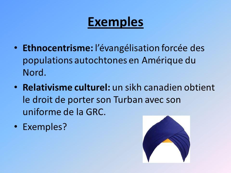 Exemples Ethnocentrisme: l'évangélisation forcée des populations autochtones en Amérique du Nord.