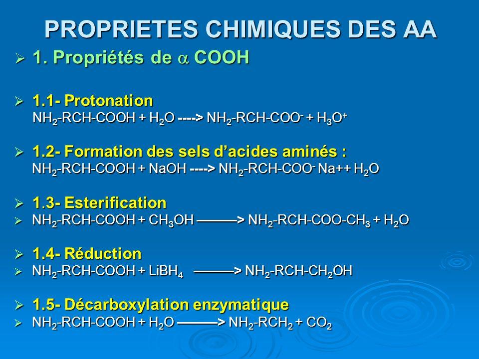 PROPRIETES CHIMIQUES DES AA