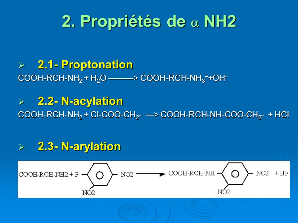 2. Propriétés de a NH2 2.1- Proptonation 2.2- N-acylation