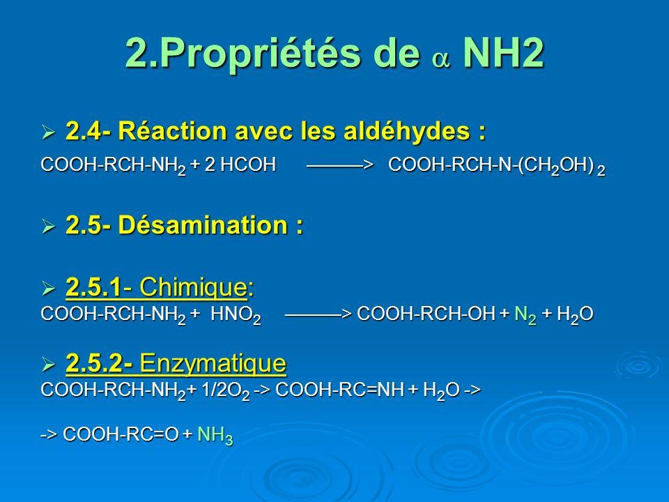 2.Propriétés de a NH2 2.4- Réaction avec les aldéhydes :