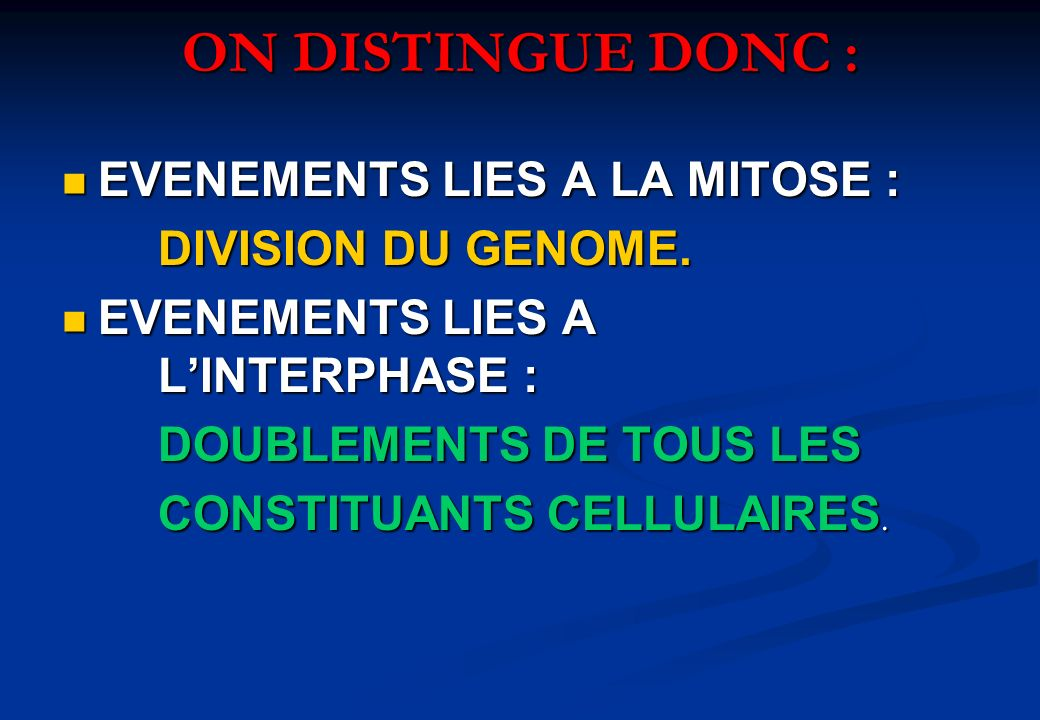 ON DISTINGUE DONC : EVENEMENTS LIES A LA MITOSE : DIVISION DU GENOME.