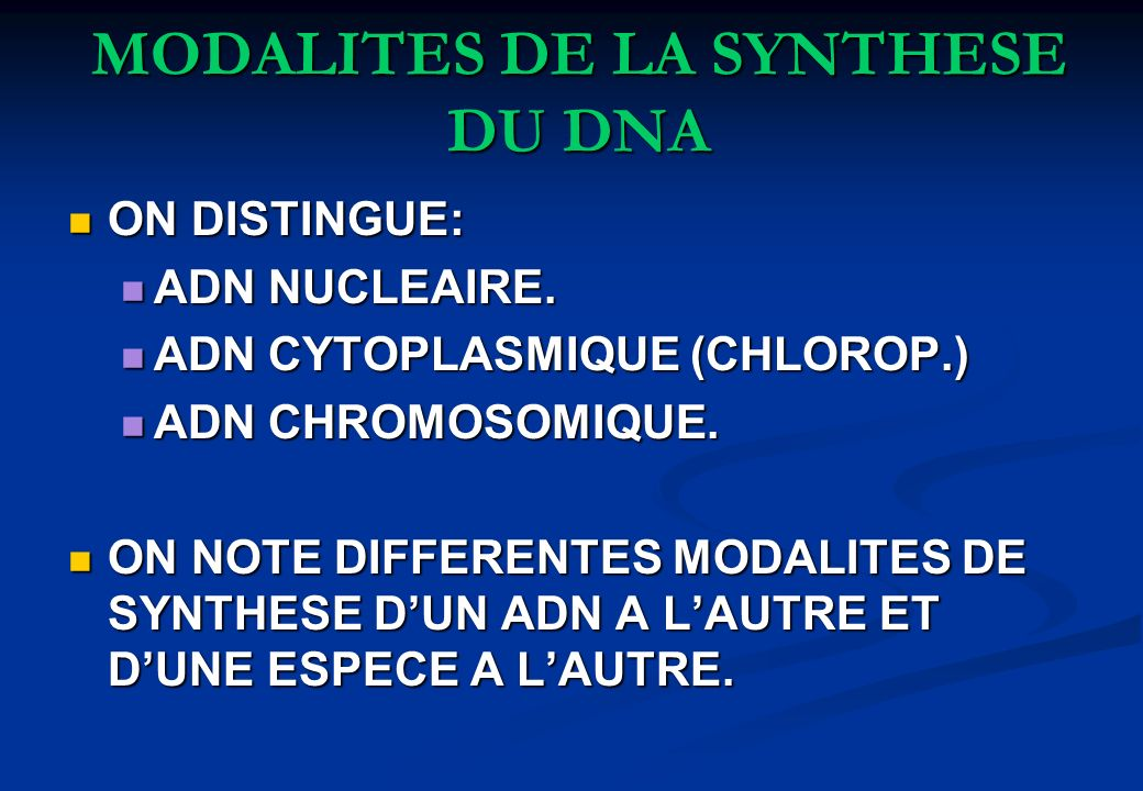 MODALITES DE LA SYNTHESE DU DNA
