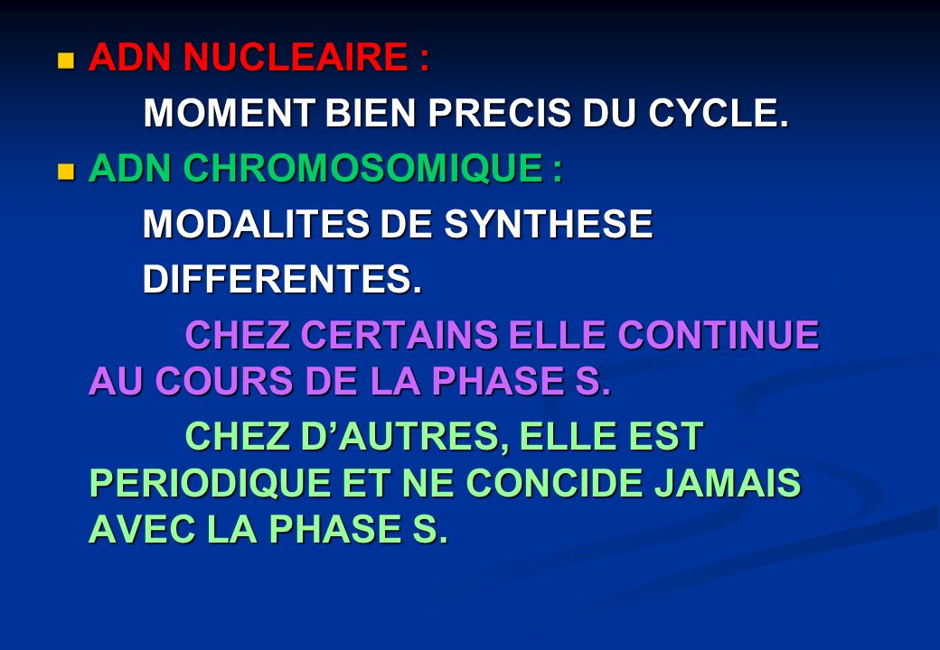 ADN NUCLEAIRE : MOMENT BIEN PRECIS DU CYCLE. ADN CHROMOSOMIQUE : MODALITES DE SYNTHESE. DIFFERENTES.