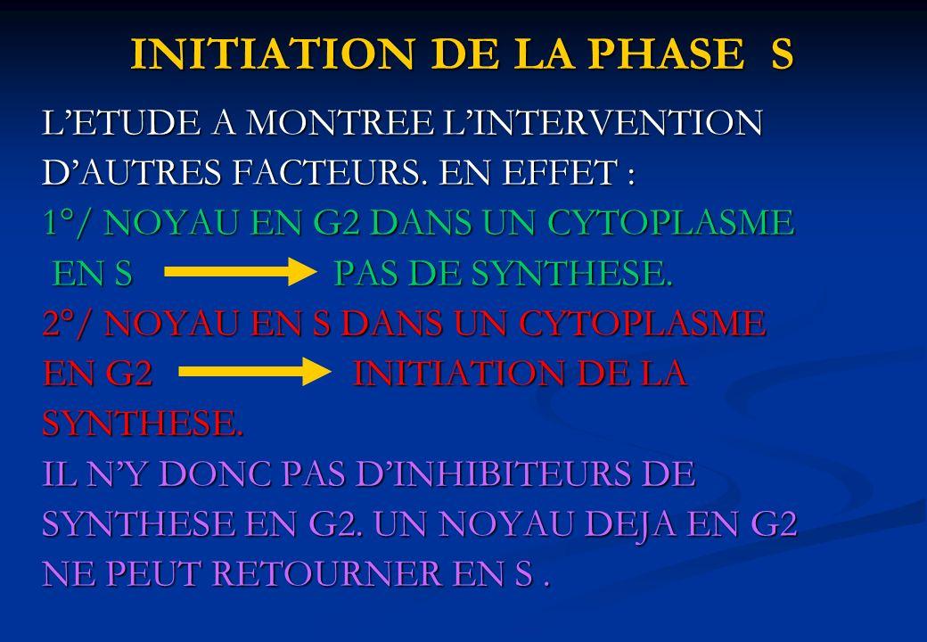 INITIATION DE LA PHASE S