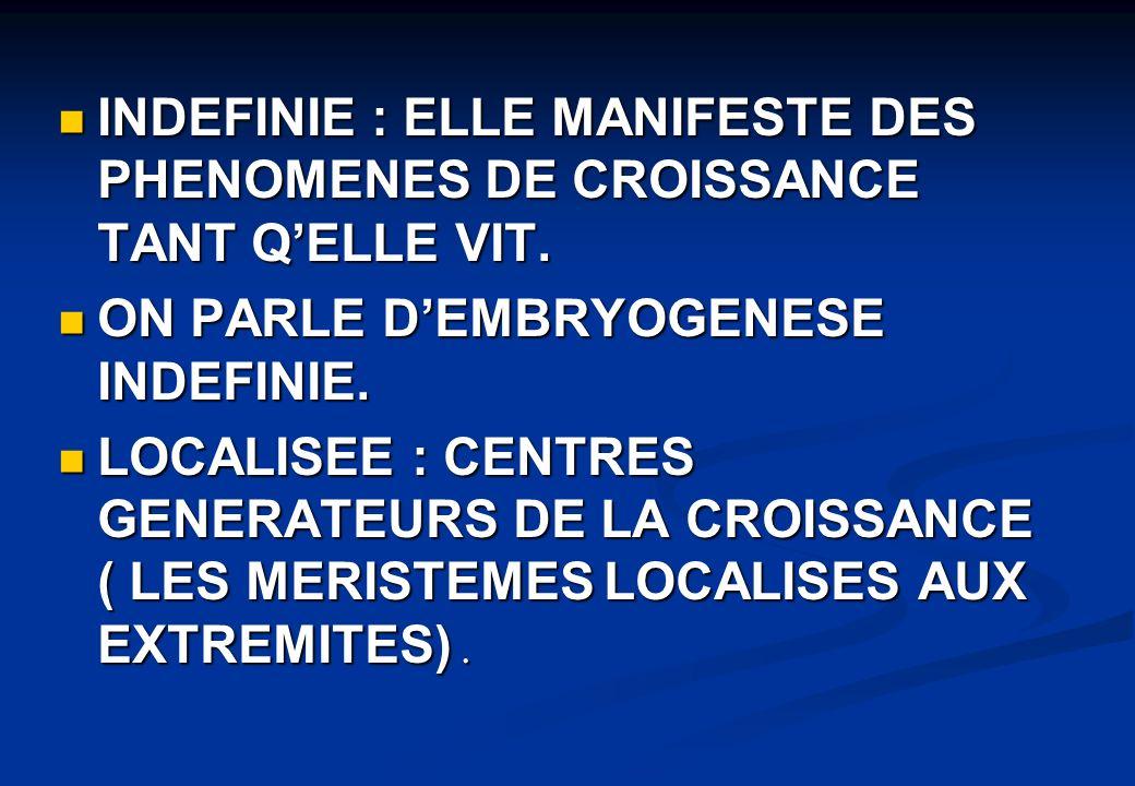 INDEFINIE : ELLE MANIFESTE DES PHENOMENES DE CROISSANCE TANT Q'ELLE VIT.
