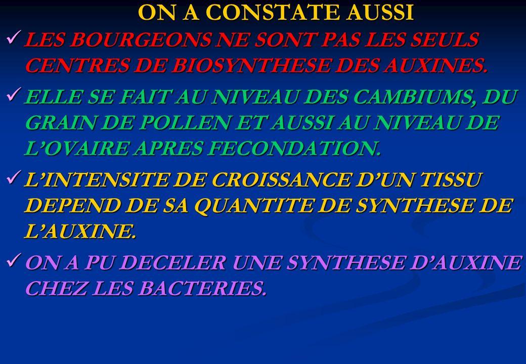 ON A CONSTATE AUSSI LES BOURGEONS NE SONT PAS LES SEULS CENTRES DE BIOSYNTHESE DES AUXINES.